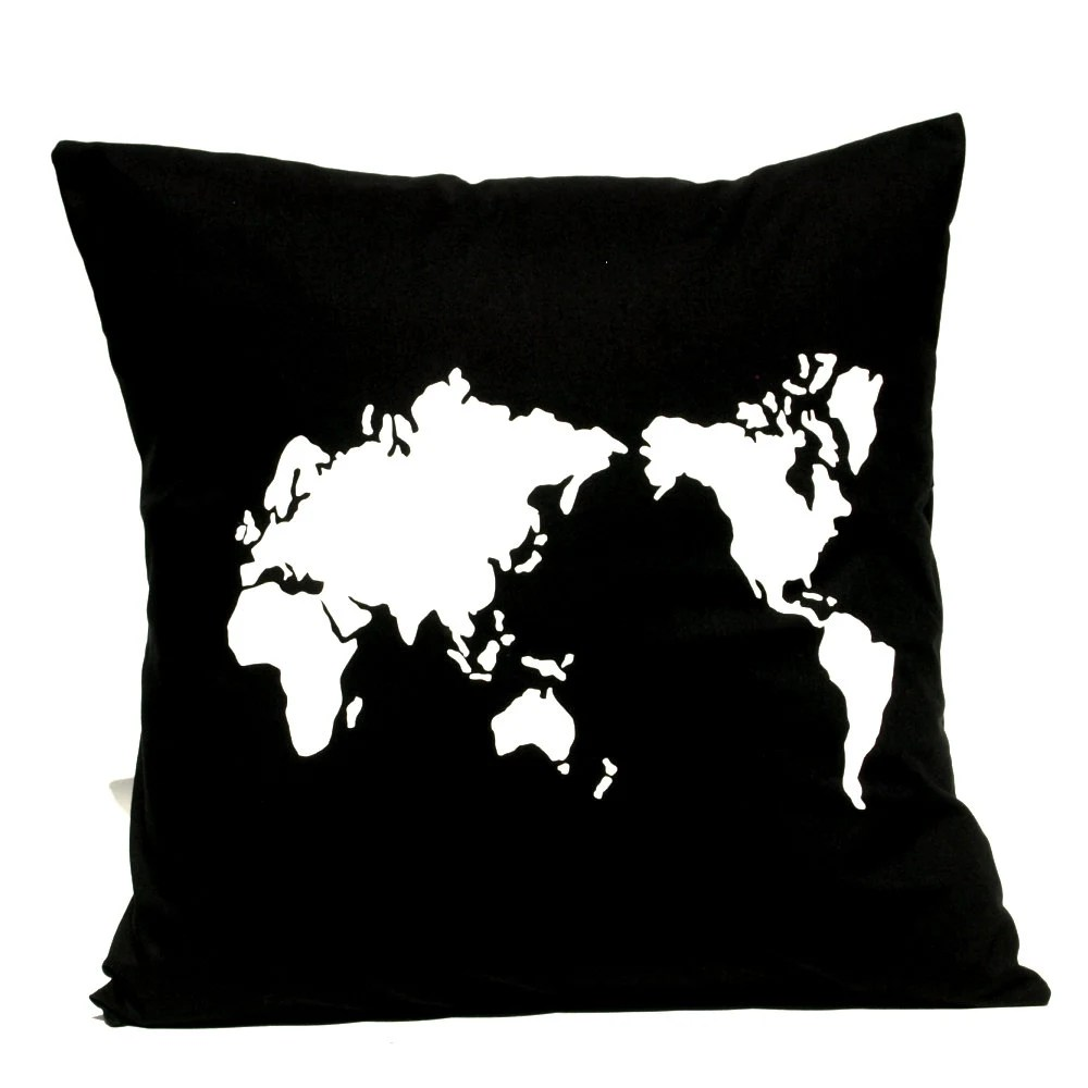 Pillow Cover - Map of the World - Hand Screen Printed Cushion