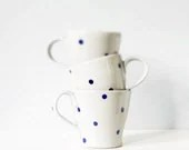 Ceramic pottery mug with polka dots - handmade pottery grey gray indigo cobalt blue - modern ceramic three cup set - thecupcakekid