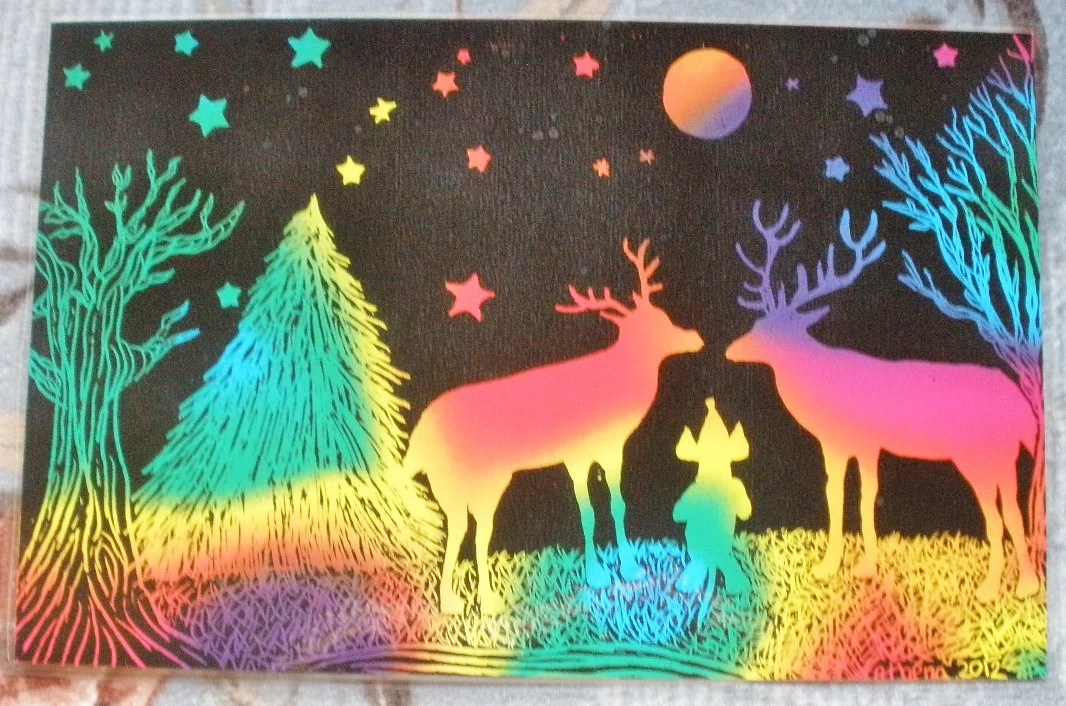 Dachshund With Two Deer Colorful Woods Night Stars Moon Trees Original Scratch Art Laminated