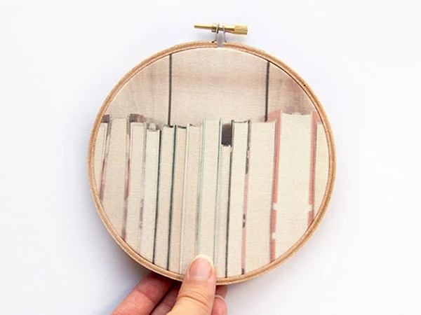 The Book Collection Fabric Art - 5 inch hoop - Modern Wall Hanging - Hoop Art - Dorm Decor Back to School - Photograph on Fabric - Library - JillianAudreyDesigns