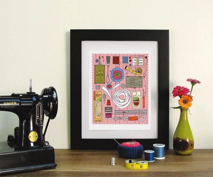 vintage singer sewing machine kit illustration print - anopensketchbook