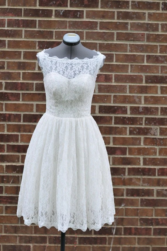 Lanvu Short Wedding Dress-Boat neckline lace overlay-Custom Made for your special day