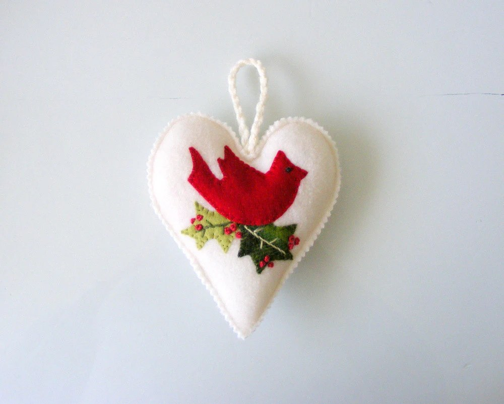 SALE-Heart ornament with red cardinal,Cyber monday, 20% off on all items in my shop. Use coupon code BLACKFRIDAYSALE at checkout - Linohandmade
