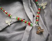 Red, Green and Silver Holly Necklace - Handmade by Rewondered D225N-00278