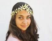 Goddess Gold Leaf Crown - Gold Leaf Tiara. Halloween, Greek, Roman, German Wedding Crown, Leaf Garland, Gold Leaves, Toga Costume - BloomDesignStudio