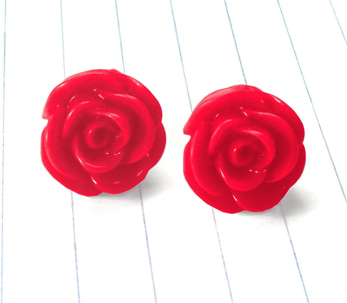 red rose earrings - red rose studs - red rose jewelry - red rose - rose earrings - rose jewelry - rose studs - red earrings - red studs
