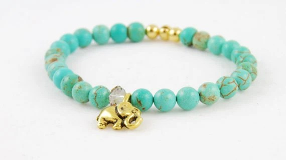 Elephant Bracelet, Teal Magnesite Gemstone