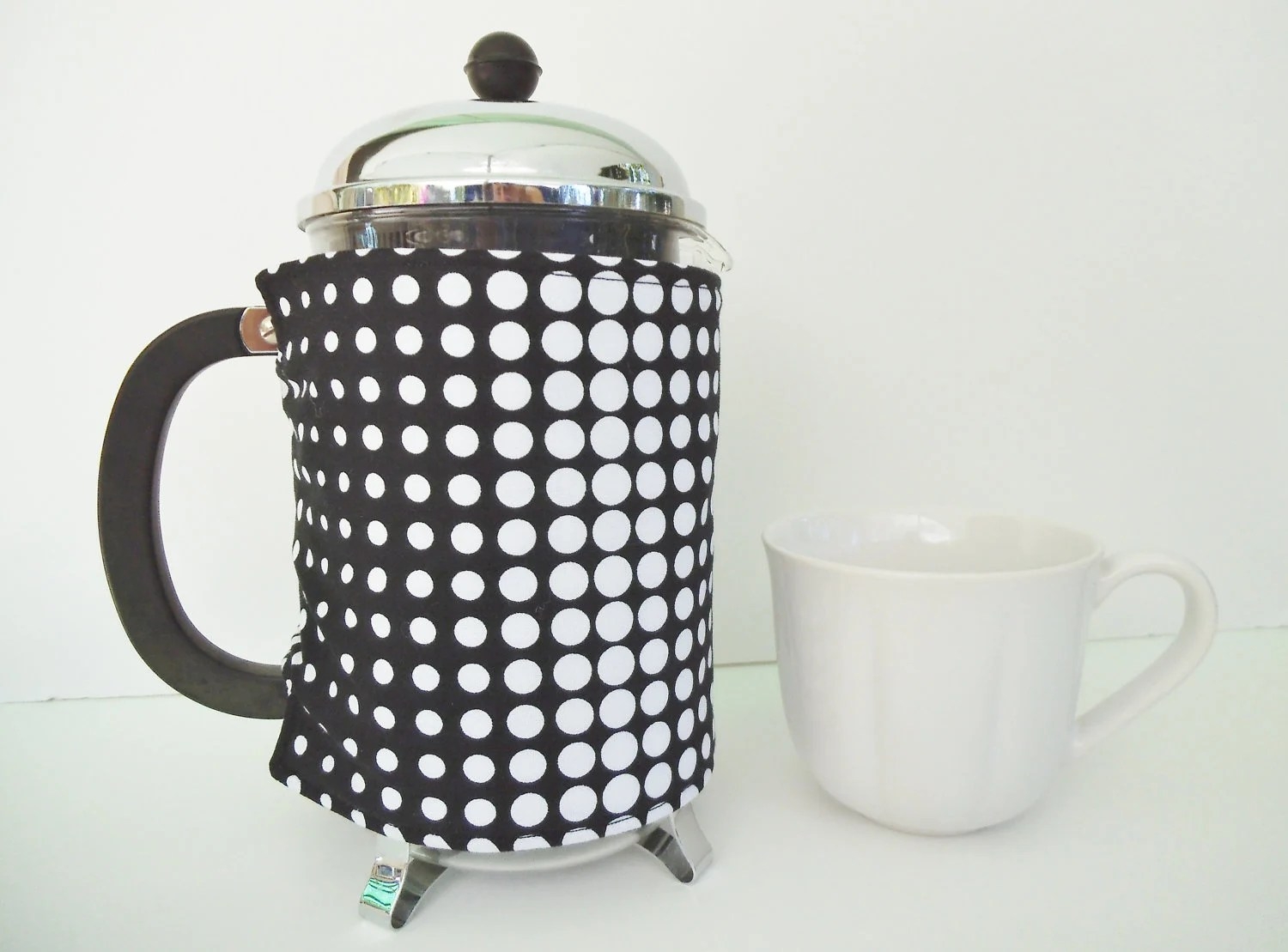 Large French Press Cozy - White/Black Dots (12cup/51oz1.5L) - CharlieRiggs