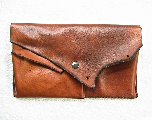 Tan calfskin clutch wallet. - WoodBoneAndStone