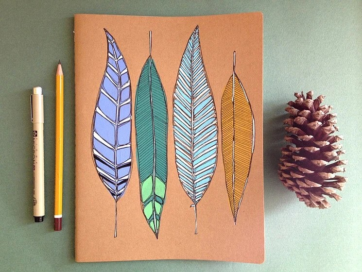 Feathers Notebook-GRID-Moleskine Cahier Notebook LARGE - MeagansMark