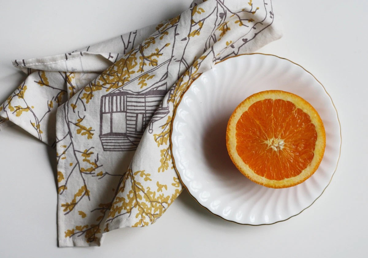 Organic Cotton Napkins (set of 2) Yellow Tree Houses - jennarosehandmade