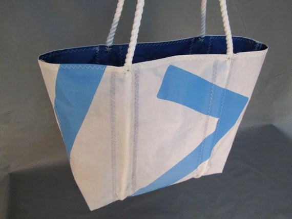 Recycled Sailcloth Tote Bag with hand-spliced rope handles