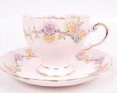 Vintage Pink Tuscan Teacup Bone China Footed Floral Design Made in England Gold Trim - LeVintageGalleria