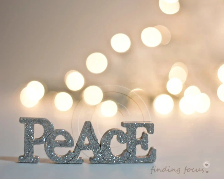 Peace Holiday Photo, Silver Gold Winter Pale Decor, Golden Beige Champagne Christmas Lights Bokeh Silvery Glitter Word Art, 8x10 Photography - findingfocus