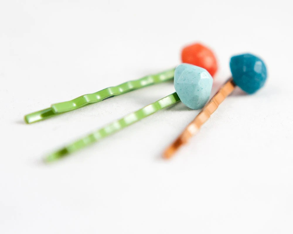 Lolli Pins -- Set of 3 Bobby Pins orange, green, blue, teal --stocking stuffer - LollyJoLolli