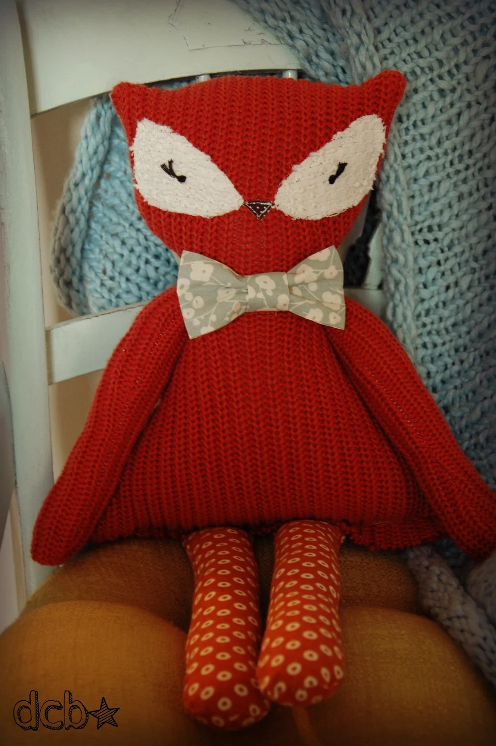 Fox plush buddy- Customizable upcycled knit