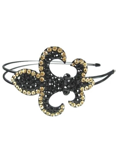 Year End Sale - Beautiful Fluer Le Dis Headband that is Black with Gold Rhinestones - PrairieChicBoutique