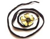 Silk Wrap Flower Vintage Brooch Bracelet in Yellow & Black by ZiLLAs QuEeN - ZiLLAsQuEeN