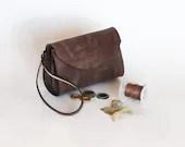 Leather bag, Brown leather wristlet,  Dalfia leather handbag, evening and everyday bag - Dalfia