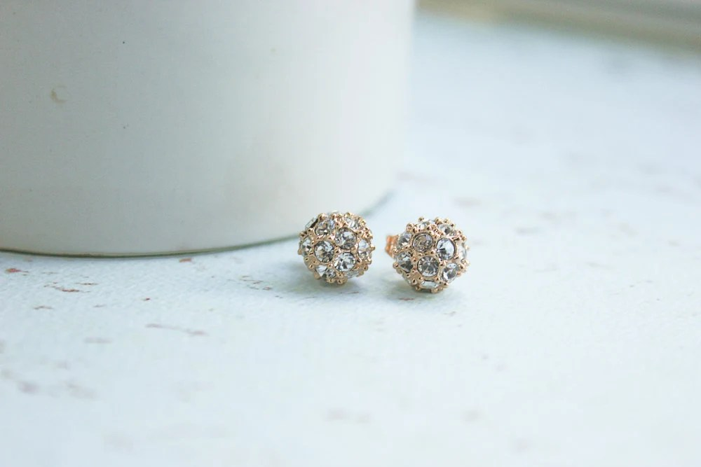 18k Rose Gold Sparkle Stud Earrings