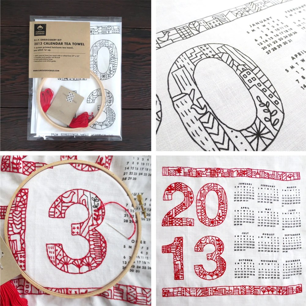 DIY Embroidery Kit -  2013 Tea Towel Calendar