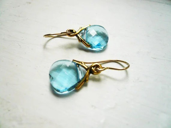 Aquamarine Earrings -  Swarovski Light Blue Crystal Briolette and Gold Vine Earrings, Small Simple Dainty Jewelry