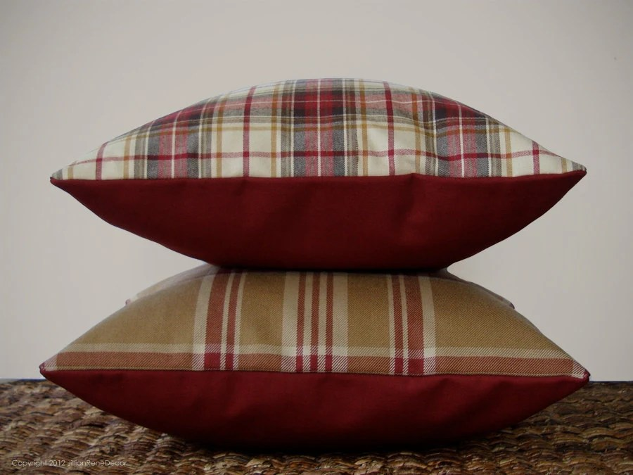 "16"" DECORATIVE PILLOW COVER - Winter Wool Plaid in Cranberry Red, Cream, and Camel by JillianReneDecor Country Home Decor - JillianReneDecor"