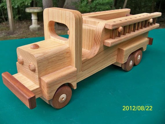 Wooden Handmade toys Firetruck  Oak and Walnut Heirloom Quality Beautifully  finished with all natural beeswax