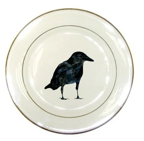 Halloween Decor Raven Porcelain Plate - Crawford