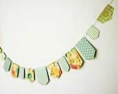 Blue green  paper garland vintage style - atelierpompadour