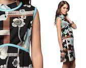 Floral Mini Dress 60s Black Print Babydoll 1960s Mod Brown Blue 70s Empire Waist Vintage High Neck Sleeveless Retro MiniDress Large L - ShopExile