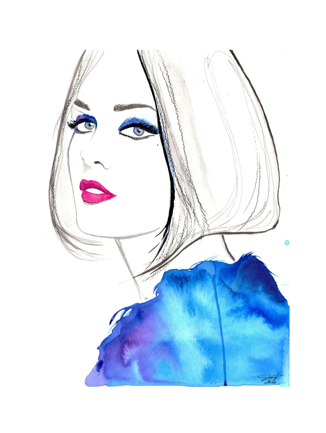 Original watercolor, pen, and charcoal fashion illustration by Jessica Durrant titled, Modern Vintage