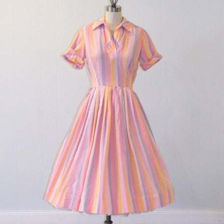 50s Shirtwaist Dress / 1950s Dress, Pink Pastel Striped Cotton Day Dress, Pleated Full Skirt Rockabilly, Kay Windsor, 40B 26W