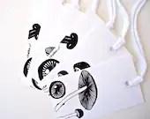 MUSHROOMS Designer tags by Katika. Modern Gift Tags. 6 Black and White Mushrooms. Mini art. Gift tags. Fall tags. - katikamade