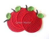 Red Apple Crochet Coasters . Apple Season Cherry Wine Carmin Scarlet Beverage Green Passion Tomato Natural Benefits Curative Properties - MariMartin