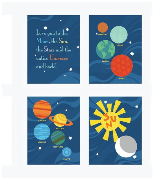 Planets Art Prints. Planets and Universe. Set of 4, 8.5X11, Nursery decor, Boy or Girl room decor, Birthday Gift, Planet Artwork