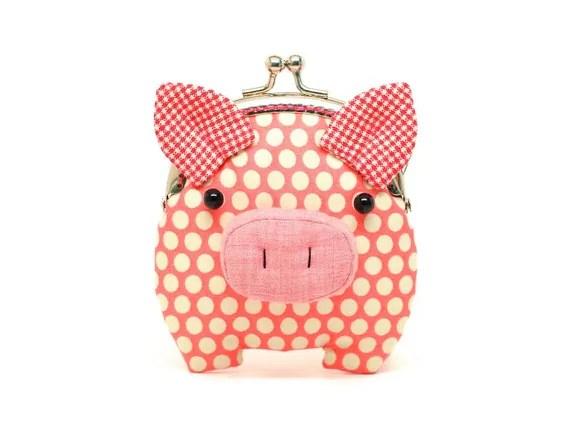 Little salmon pink piggy clutch purse
