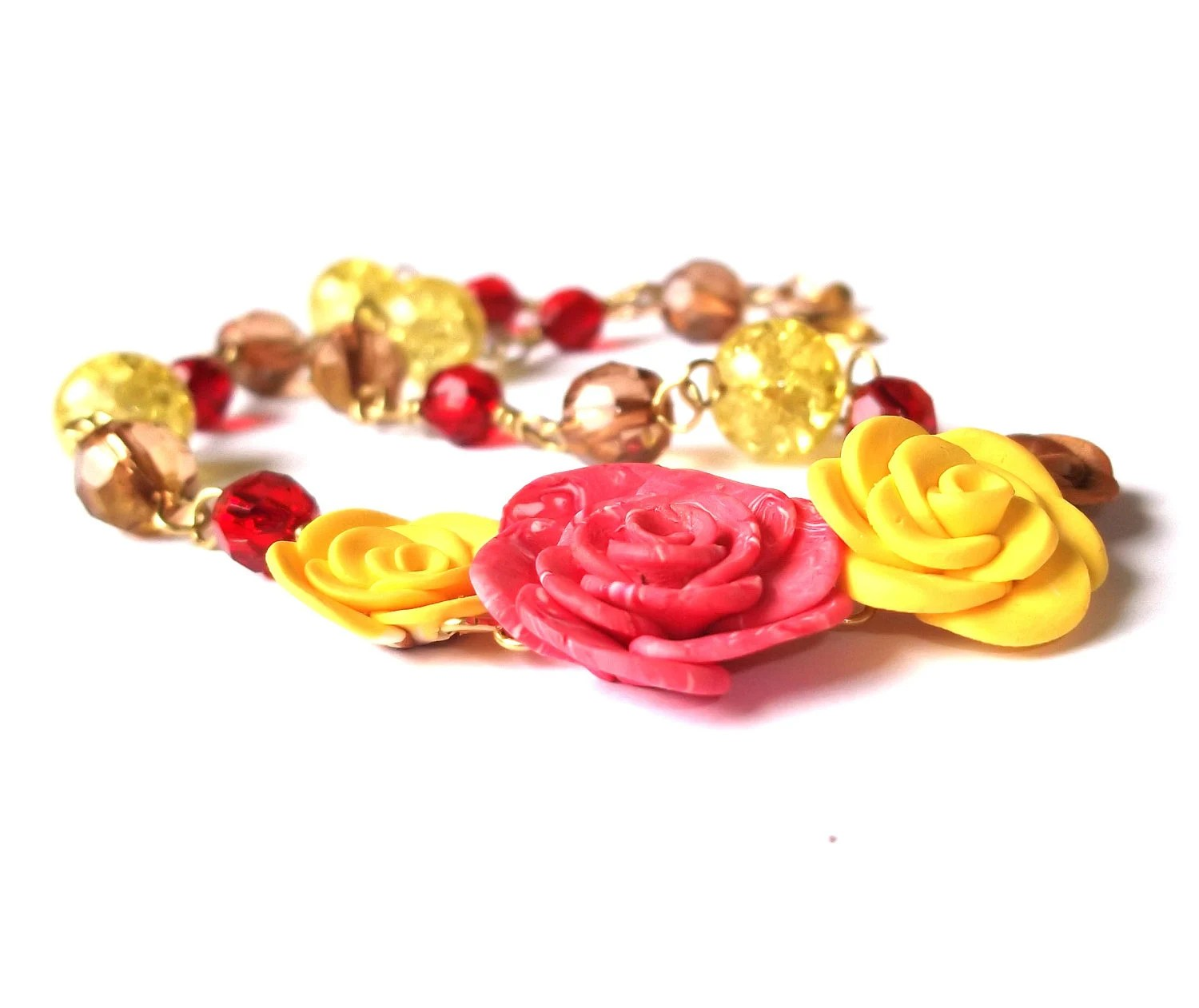 Gold Necklace Yellow Red Brown Roses, Crystals, Czech Glass Beads, Polymer Clay Roses