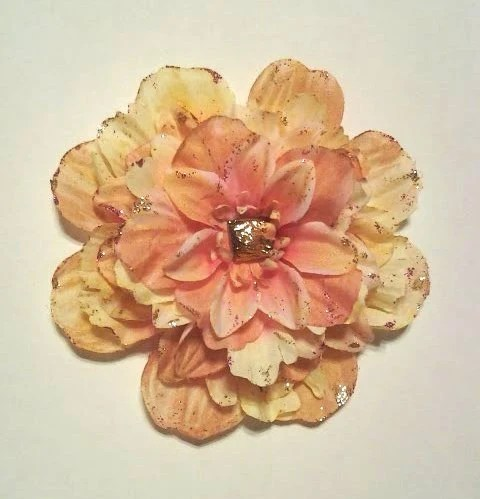 Rose Gold Pink and Gold Large Flower Fascinator Hair Clip - PS I Love You Inspired Accessory - KaleidoscopeHearts