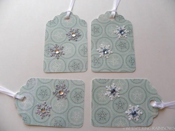 Christmas gift tags stripes and snowflakes  (4) rhinestones