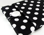 MacBook Air Sleeve, MacBook Air Case, MacBook Air 11 Sleeve, MacBook Air 11 Case, 11 Inch - Cute Black And White Polka Dots. - FiveSproutsStitching