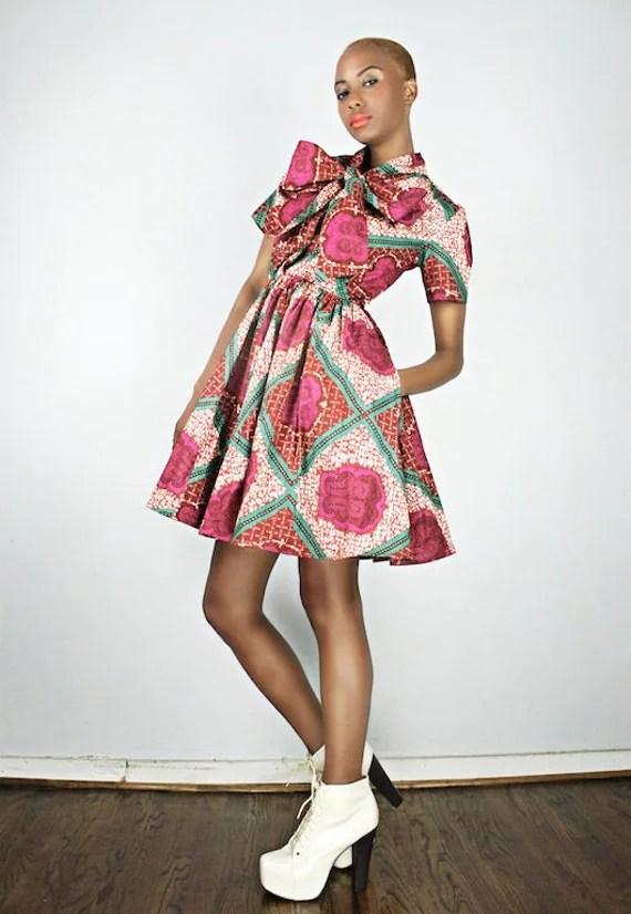 The Minnie Bell- African Print  100% Holland Wax Cotton Dress
