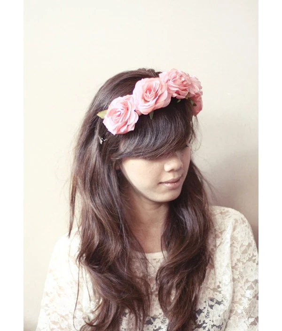 Marooshka Pink Pastel Roses Flower Crown