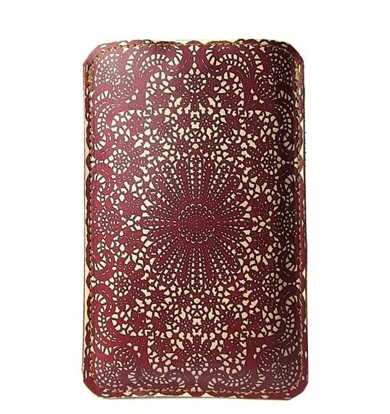 Leather iPhone / iTouch /HTC (Desire&Mozart) Case - Burgundy Lace