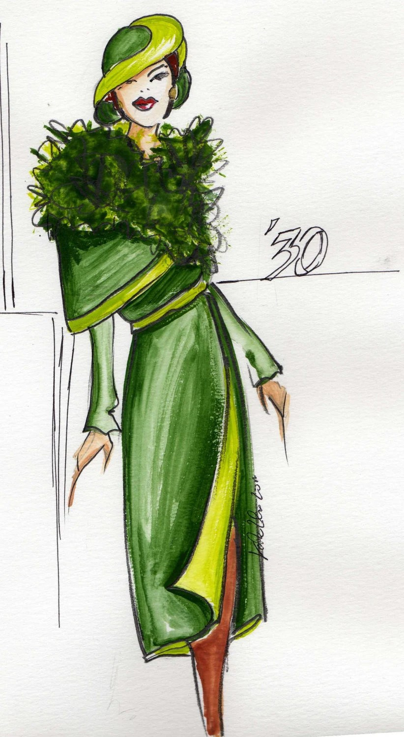 Original Fashion sketch Illustration drawing, green thirty's coat - kkstylefashion
