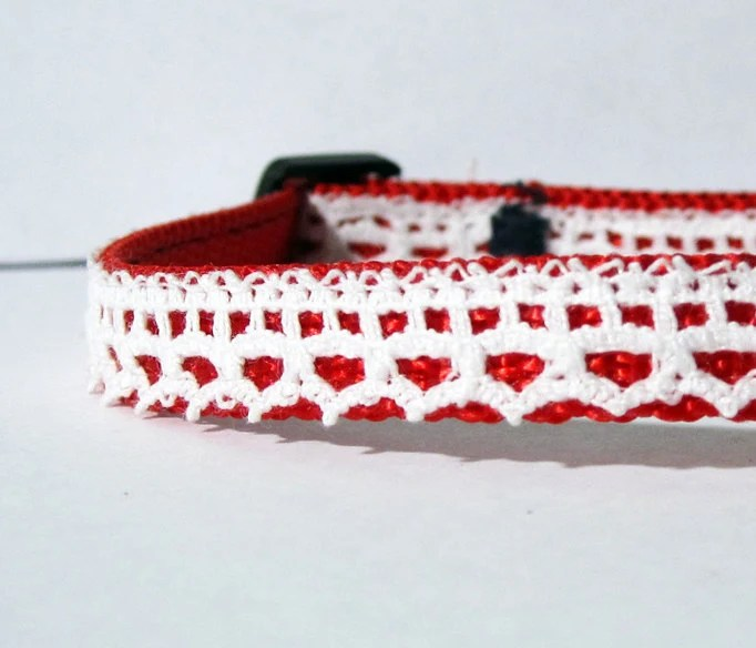 "Vintage Lace Breakaway Cat Collar- 3/8"" wide - TheWhiteSchnauzer"