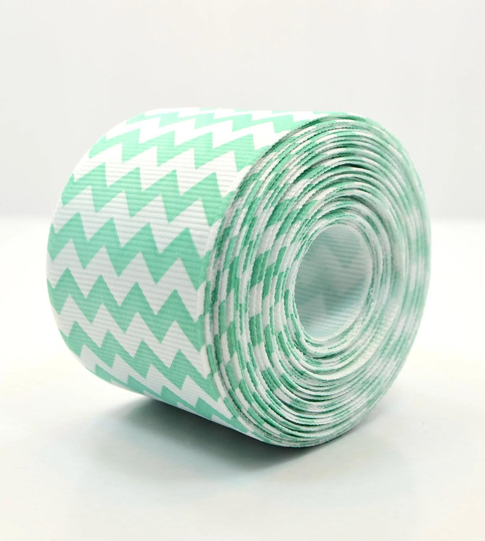 Chevron Print Aqua and White Grosgrain Ribbon 1.5 Inch - pickinickibows