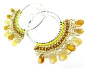 Autumn Yellow Hoop Earrings - MegansBeadedDesigns