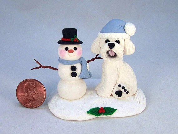 Bichon Frise and Snowman Handsculpted Clay Figurine