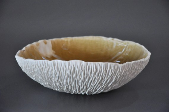 SALE - Amber Crackle Geode Textured Porcelain Serving Bowl - Centerpiece Modern Ceramic Contemporary - elementclaystudio